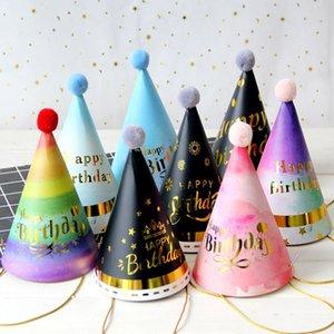 عيد ميلاد سعيد حزب قبعة الأطفال عيد الطفل الكبار فروي الكرة عيد الديكور قبعة قبعة ملونة سلسلة حمراء ورقة قبعات