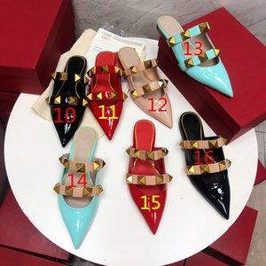 Yüksek Kaliteli Moda Bahar Ve Yaz Yeni Baotou Düşük Topuk Patent Deri Sivri Bayan Yarım Terlik Katı Renk Bayan Sandalet Boyutu 35-40