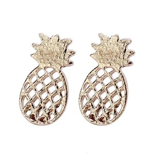 Gold Lovely Rose Sliver & Gold Plated Hollow Pineapple Stud Earrings For Women Personality Design Cute Alloy Earrings Jewelry Charm cool