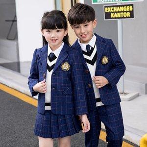 Children Class Suit Set Boys Girls College School Uniform Performance Costume Kids Plaid Blazer Jackets Pants 2pcs Clothes Sets