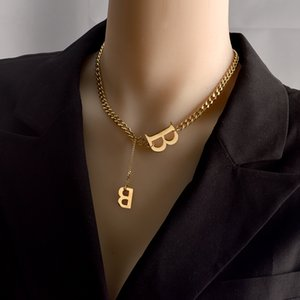 Personalized Letter B Constellation Pendant Necklaces Custom Stainless Steel Old English Necklace Birthday Jewelry Gifts