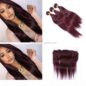 99J Brazilian Human Hair Bundles With 13*4 Lace Frontal 4Pcs Lot Burgundy Straight With Frontals Wine Red Hair With Frontal Closure