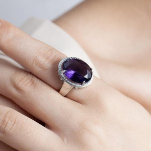 Wedding Rings Arrival Lady Silver 925 Sterling For Women Accessories Fashion Crystal Purple Oval Female Jewelry