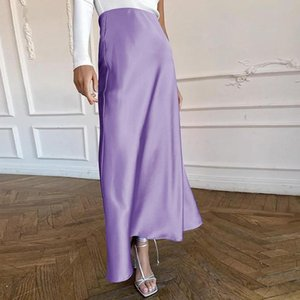 Skirts Women Satin Long Skirt Ladies Elegant High Waist Solid Color Slim Flared For Summer Streetwear