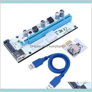 Riser Card 008S Ver008S 3 In 1 Molex 4Pin Sata 6Pin Pcie Pci-E Pci Express Adapter 1X 16X Usb3.0 Extender Mining Miner Ilb6S Ihquk
