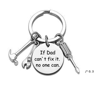 2021 يوم الأب الفولاذ المقاوم للصدأ هدايا المفاتيح اكسسوارات إذا أبي لا يمكن إصلاحها إلكتروني مطرقة مفك أداة وجع مفتاح حلقة رئيسية FW
