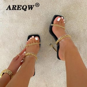 Clear PVC Transparent High Heel Slippers Summer Fashion Chain Design Slip On Square Toe Slides Mules Pumps Zapatos Mujer Dress Shoes