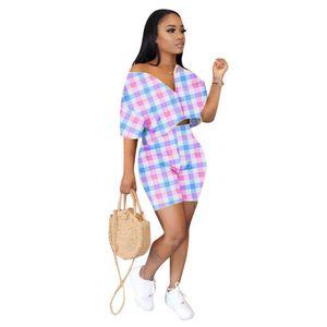 2 Womens 격자 무늬 프린트 섹시한 V 넥 슬리브 자르기 탑 및 짧은 핑크 복장 두 개 세트 일치 세트