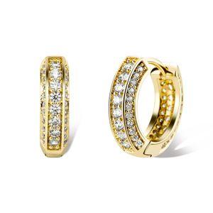 Мода Hip Hop Серьги Хип-хоп Золото Серебро Блейн CZ Серьги Diamond Hoops Для мужчин Женщины Приятный подарок