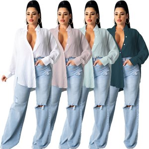 2021 New Spring Autumn Turn Down Collar Long Sleeve Buttons Up Women's Blouse Casual Loose Female Shirt Tops Workwear Shirts