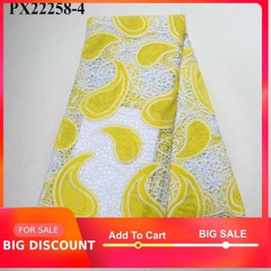Ribbon So Lovely African Guipure Lace Fabric Swiss Voile Big Yellow Color Ladies Evening Wedding Dress Cloth