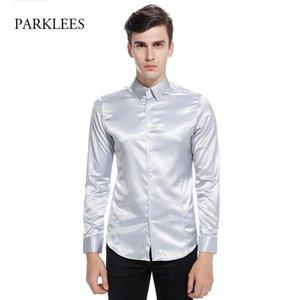 Silk Satin Shirt Men Chemise Homme 2021 Fashion Mens Slim Fit Tuxedo Shirts Casual Shiny Emulation Button Down Dress Men's