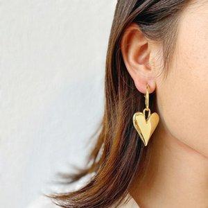 Dangle & Chandelier AENSOA Gold Silver Color Heart Shape Earrings Women's Luxurious Geometric Love Pendant Metal Korean 2021 Fashion