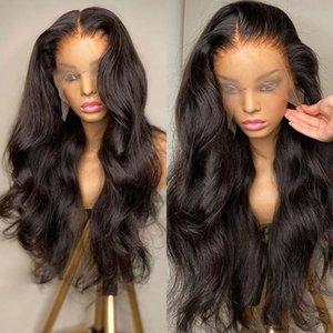 Peluca huo transparente 13x4 HD para mujer negras, cabello con onda encaje Frontal, nsidad de 250%, predplumada, sin