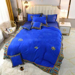 Royal Blue Duvet Covers Bedding Set Long Staple Cotton Bed Sheet Vintage Pillowcase Bedroom Supplies Queen Size