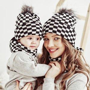 Caps & Hats Born Infant Baby Girl Boy Mom Hat Head Wrap Cotton Cap Parent-Child Suit Mother Knitted Plaid Soft Adult Kids Set Accessories