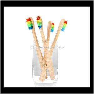 Fabrika fiyatı! 1000 adet / grup Renkli Kafa Bambu Diş Fırçası Çevre Ahşap Gökkuşağı Bambu Diş Fırçası Oral Bakım Yumuşak Kıl PP5UD 0KYM7