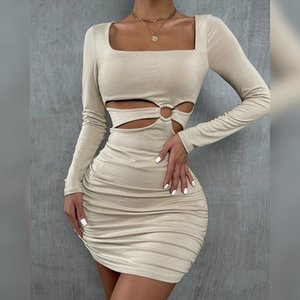 Casual Dresses Fashion Solid Hip Skirt Folds Hollow Out Vestidos Square Collar Long Sleeve Woman Clothes Slim Rings Skort 2022 Sexy