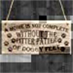 Köpek etiketi kimlik kartı 1 kahverengi ahşap ayak izleri ahşap plakalı kolye i143765 56Di