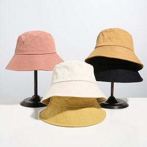 bucket hat style fisherman's in spring and summer, women's face covered, pure color wide brim embroidered eye , literary artistic