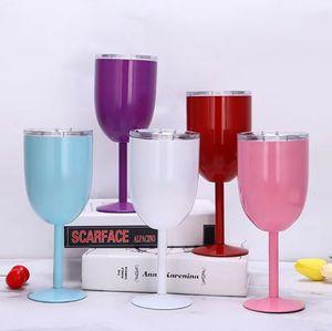 10oz 진공 스테인레스 스틸 더블 벽 절연 와인 컵 칵테일 와인 유리 잔 와인 컵 주스 음료 쥐와 함께 음료