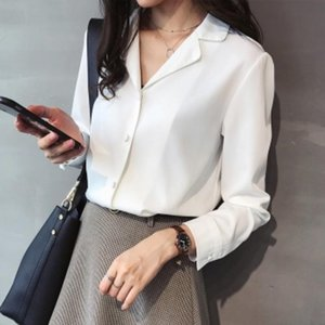 Women's Blouses & Shirts Philosophy Wonder 2021 Spring Solid V-neck Office Lady Tops White Blouse Fall Long Sleeve Women Chiffon