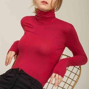 ChoHill Herbst Slim Fit Herbst Casual Modal Basis Langarm Tshirt Frauen Rollkragene Elegante Massive Färben Tops für Frauen Plus Größe 210322
