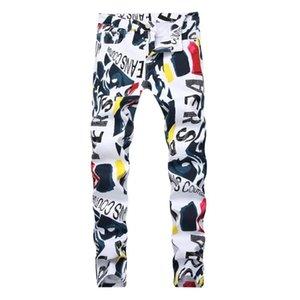 New style men's brand jeans cotton white Letter printed designer Hip Hop jeans men high quality Denim pants Fashion elastic jean