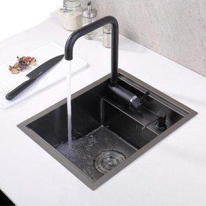 Black Hidden Kitchen Sink Single Bowl Bar Small Size Sink Stainless Steel Balcony Sinks Concealed Black Kitchen Sink Bar