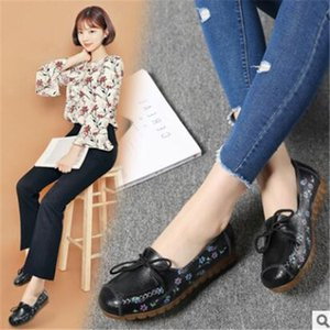 autumn 2021 style single shoes soft surface printing ladies flat-heeled leather women's peas Comfortable durable student Convenience