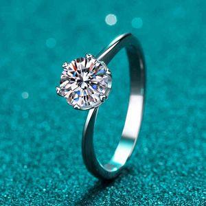 Mode Ring ANZIW 925 Sterling Silber Moissanit Diamant 0,5CT / 1.0CT Exquisite Twist Shank Solitaire Engagement für Frauen Schmuck Geschenke Ringe N1
