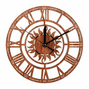 Wall Clocks Round Clock Modern Wooden Hanging Novel Sun Shaped With Roman Numeral For Home Office Shop