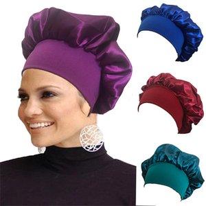 Satin Night Sleep Cap Cap Capelli Custodia Capelli Turban Wide Band Elastico Copricapo Bonnet Berretto Berretto Nightcap Sleeping Hat Head Wrap