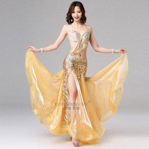 Femmes de danse Performance Perled Outfit Costume de danse du ventre égyptien Set Gold Bra et jupe Sexy Bellydance Support Coupe 34B / 36B L5ZM #