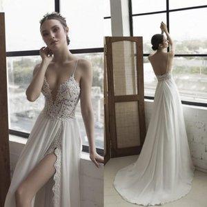 Julie Vino 2021 Beach Split Wedding Dresses Bohemia Sexy Backless Spaghetti Neckline Lace Applique Bridal Gowns A Line Chiffon Wedding Dress