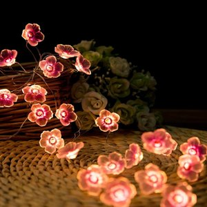 Strings 3m LED Peach Bronze Line Light String Battery Box Holiday Decorative Color Petal Styling Copper Silk