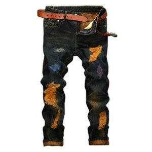 Denim Designer Hole Jeans High Quality Ripped for Men Size 28-38 40 2021 Autumn Winter Plus Velvet HIP HOP Punk Streetwear