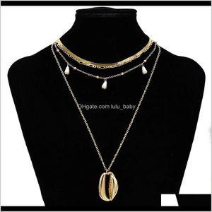 Bohemian Shell Multi Layer For Women Girl Fashion Gold Silver Color Pendant Necklace Collar Jewelry Nzcxl Beaded Esptc