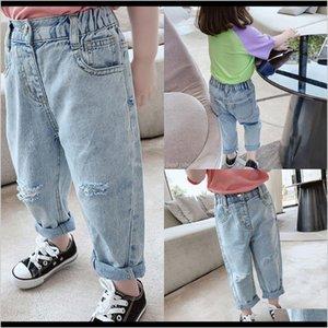 Tg Korean Ins Spring Summer Kids Girls Trousers Quality Elastic Waist Autumn Children Hole Pants Jrtxp Lrixb