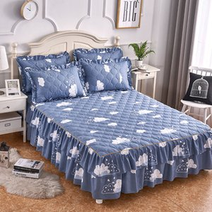 Bed Skirt Quality Thicken Modern Floral Print Ruffle Sheet spread Princess ding Set 3pcs Cover King Queen J8092 5Q3A