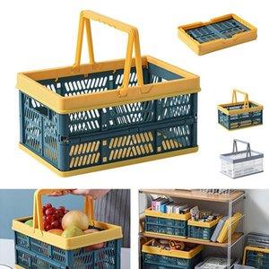 Storage Baskets Foldable Picnic Basket Plastic Vegetable Fruit Box Food Clothes For Travel Camping Kitchen Organizer