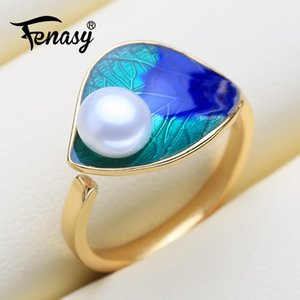 Cluster Rings FENASY Natural Freshwater Pearl For Women Fine Jewelry Female Bohemian Colorful Silver Color Blue Stones Party Ring