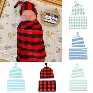2021 Spring Autumn Infant Baby Striped Plaid Printing Sleeping Bag with Hat Soft Cotton newborn Blanket Toddler Boys Girls Swaddling wrap