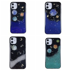 Fashion 2021 Earth Moon Star Space Bling Glitter Soft TPU Case For Iphone 12 Pro MAX Mini 11 XR XS X 8 7 6 Plus Foil Confetti Starry Sky Sequin Flake Mobile Phone Back Cover