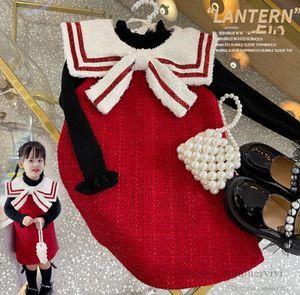 Christmas Girls woolen vest dresses kids stripe Bows lapel A-line dress fall winter children thicken princess clothing Q2628