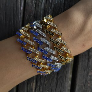 Bracelets d'or HIP HOP HOP MENS Noir Bracelets de diamants Black Bijoux Fashion Clair de Miami Cuban Link Chaîne Bracelet 8inch 38 R2