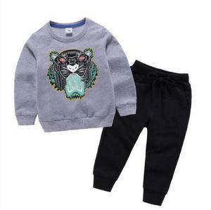Giyim Setleri İlkbahar / Sonbahar Bebek Tasarımcısı Giyim Erkek ve Kız Kazak İki Parça Uzun Kollu + Pantolon Klasik Baskı 2-8 Yıl