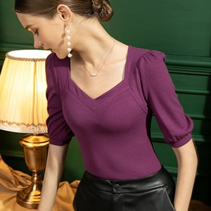Autumn French Square Neck T-shirt Womens Puff Sleeve Slim Five-point Sleeve Bottoming Shirt Solid Color Y2k Tops