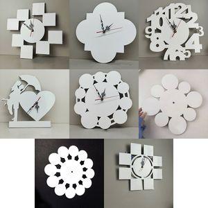 12 polegadas Sublimação Blanks relógios de parede DIY Padrão Transferência de calor MDF Relógio Decorações para casa 8 estilos XD24596