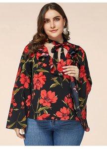 Donne Floral Flare Sleeve Tshirt V Neck Bendage Allentato Tees Signore Plus Size Vestiti